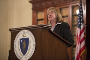 Mary Thompson-Jones, faculty member and the academic director of the Master of Science in Global Studies and International Affairs program, speaks at the Massachusetts State House during the event on May 22, 2014, that commemorates the 90th Anniversary of the U.S. Foreign Service and honors Commonwealth diplomats from 1776 to the present.